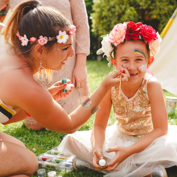 Face painting at wedding on Sullington Manor Farm, West Sussex