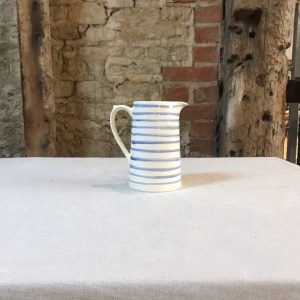 Medium Blue Stripe Jug from the cafe at The Old Workshop, Sullington Manor Farm