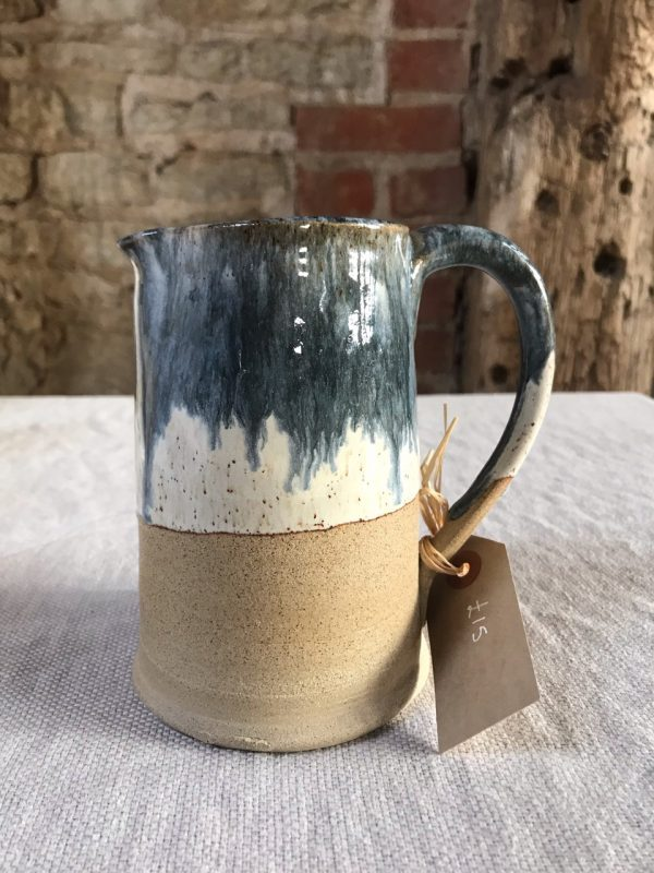Blue Drip Jug from the cafe at The Old Workshop, Sullington Manor Farm